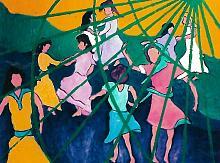 danza di bambini - mario fanconi - Olio