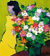donna con vestito giallo - mario fanconi - Olio