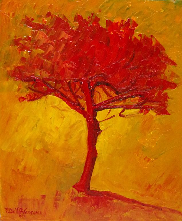 Albero rosso - Pietro Dell Aversana - Olio - 65 €