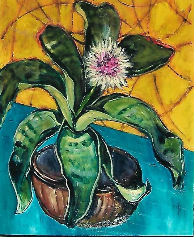 Vaso di fiori amarillis - mario fanconi - Olio