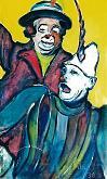 due allegri clown - mario fanconi - Olio