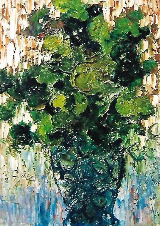 Fiori blu in un vaso - mario fanconi - Olio