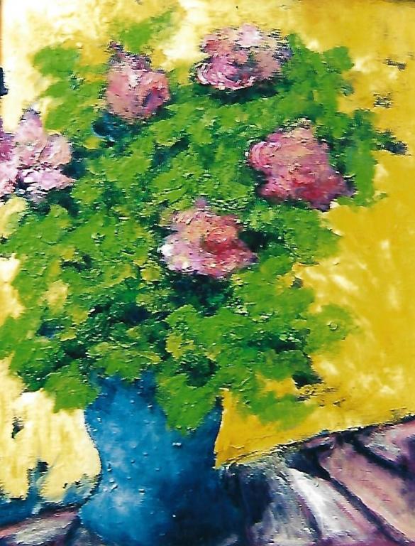 Vaso di rose - mario fanconi - Olio
