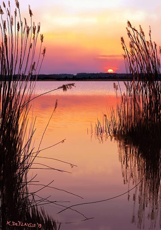 Lago al tramonto - Michele De Flaviis - Digital Art - 70 €