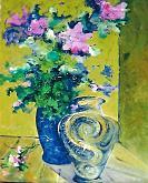 Fiori rosa e vaso - mario fanconi - Olio