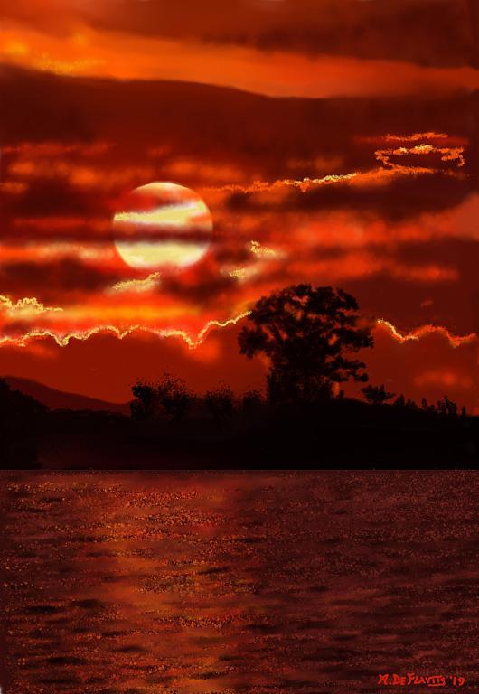 Crepuscolo sul fiume - Michele De Flaviis - Digital Art