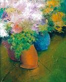 Tre vasi di fiori - mario fanconi - Olio