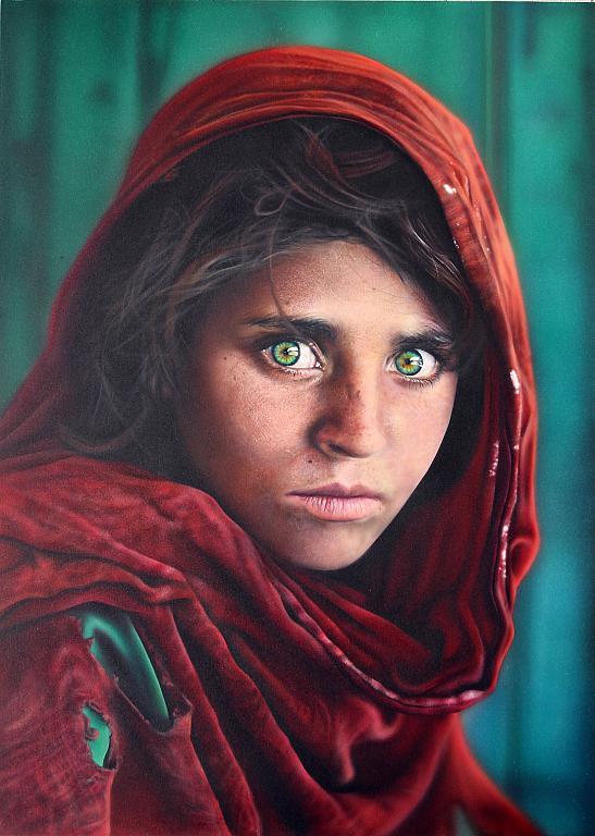 Tributo a Steve McCurry  - Simona Zecca - Acrylic, airbrush, pencils - 1800 €