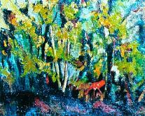 capriolo nel bosco - mario fanconi - Olio