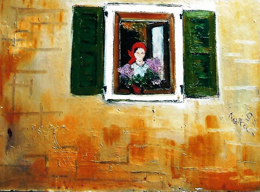 alla finestra  - mario fanconi - Olio
