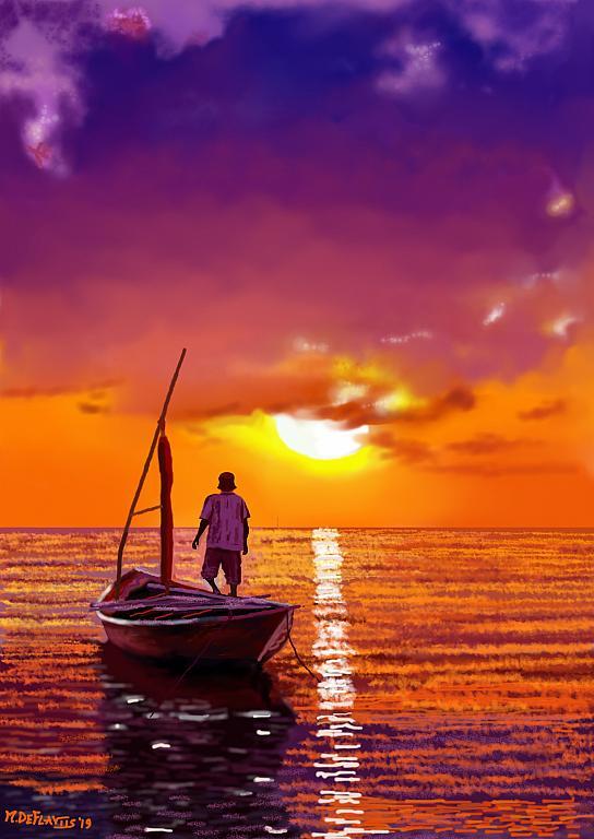 pescatore che osserva il tramonto - Michele De Flaviis - Digital Art