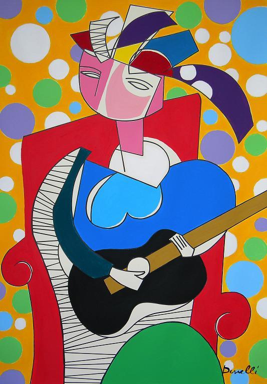 Ragazza con la chitarra - Gabriele Donelli - Acrilico - 600 €