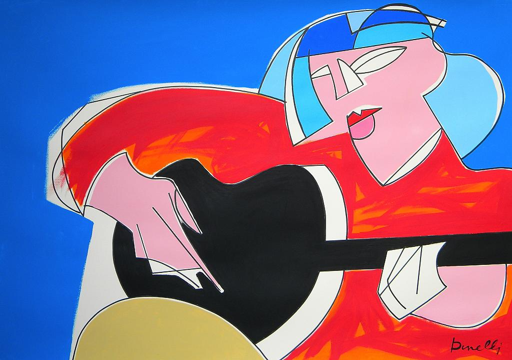 Ragazza con la chitarra - Gabriele Donelli - Acrilico - 400 €