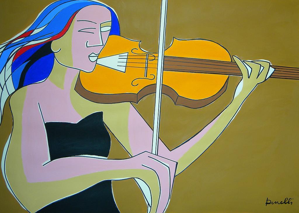 Ragazza con il violino - Gabriele Donelli - Acrilico - 2000 €