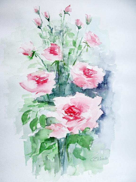 Profumo di rose, rosa  - Carla Colombo - Acquerello -  €
