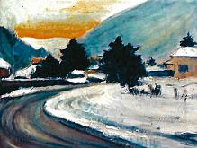 mezzovico in inverno - mario fanconi - Olio