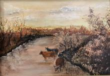 Cows on the river - Dalido Gino Marini - Acrilico - 300€