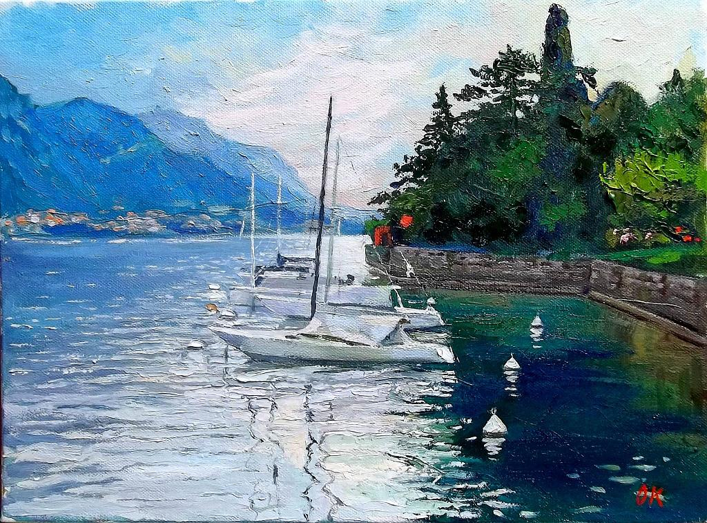 Pescalo lago di Lecco - Olga Kozhanova - Olio -  €