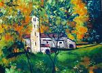 mezzovico chiesa - mario fanconi - Olio