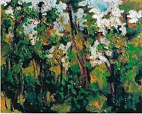 alberi in autunno - mario fanconi - Olio