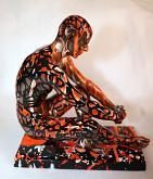aspettando il futuro - marco stazzini - dipinto a mano su scultura in resina e bronzo - 400€