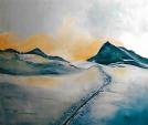 orme sul silenzio delle nevi eterne  - mario fanconi - Olio