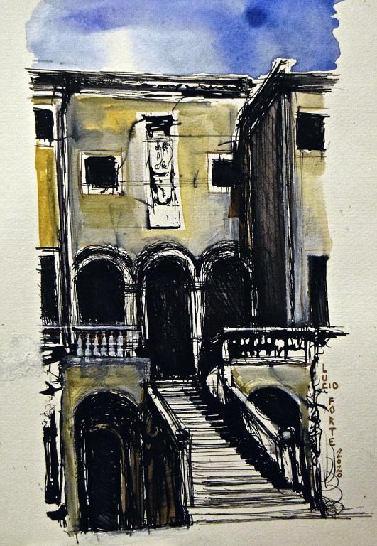Palladio, Villa Godi - Lucio Forte - China, acquerello, acrilico su carta - 89 €