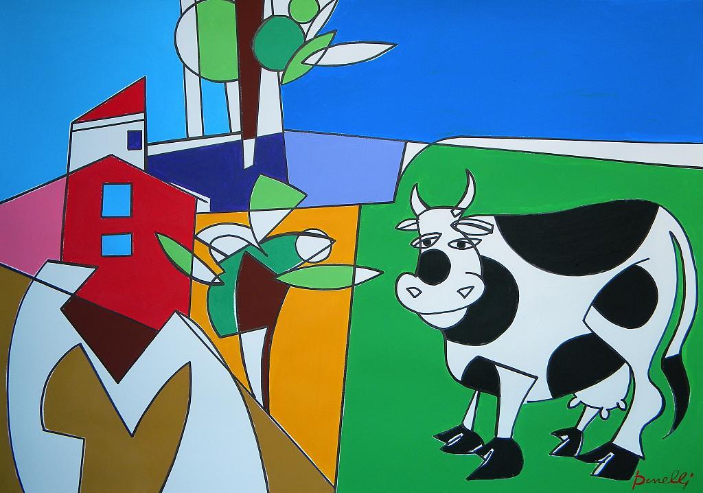 Paesaggio con la mucca - Gabriele Donelli - Acrilico - 1400 €