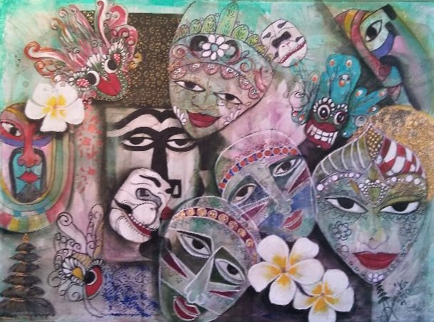 Bali      n maschera - anna casu - Acrilico