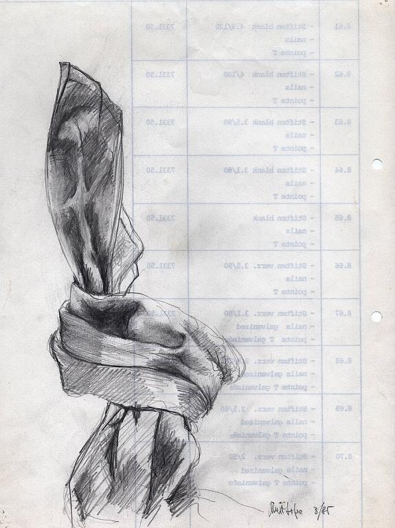 lenzuolo in uno non spazio-bozzetto del nodo - daniele Rallo  - matita - 50 €