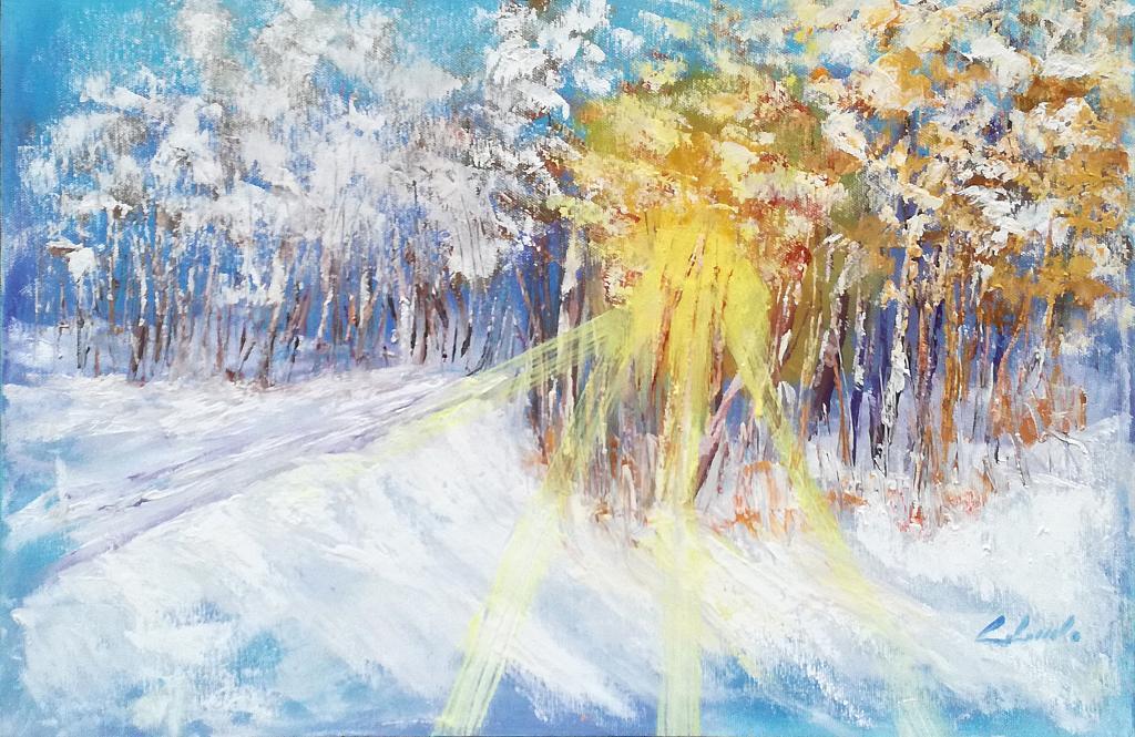 Sole, neve, caldamente in un abbraccio  - Carla Colombo - Olio -  €