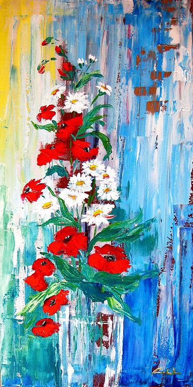 D'estate, rosso e bianco - Carla Colombo - Acrilico - 410 €