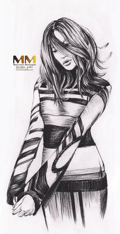 ragazza con maglione -  MAURIZIO MISSAGLIA - Carboncino