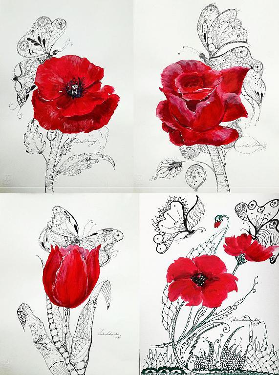 Serie Fiori rossi e mariposas  - Carla Colombo - Acrilico - 35 €