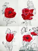 6 - Serie Fiori rossi e mariposas  - Carla Colombo - Acrilico, biro  - 35€