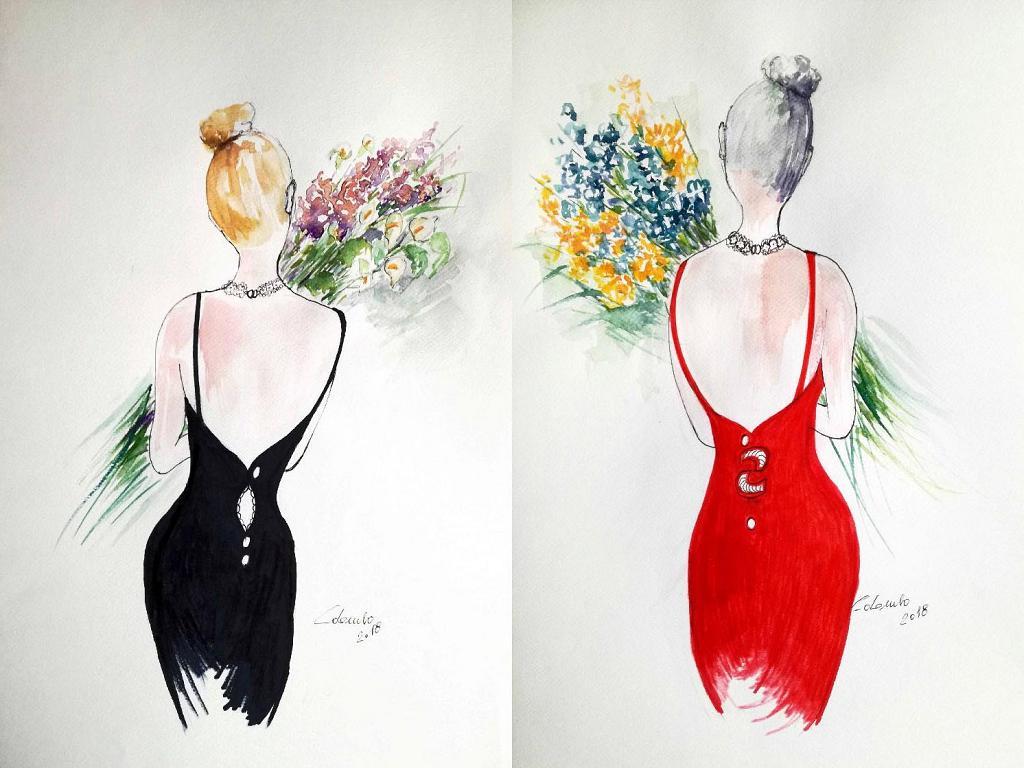 Serie Portami tanti fiori  - Carla Colombo - Acquerello - 35 €