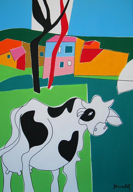 Paesaggio con la mucca - Gabriele Donelli - Acrilico - 400 €