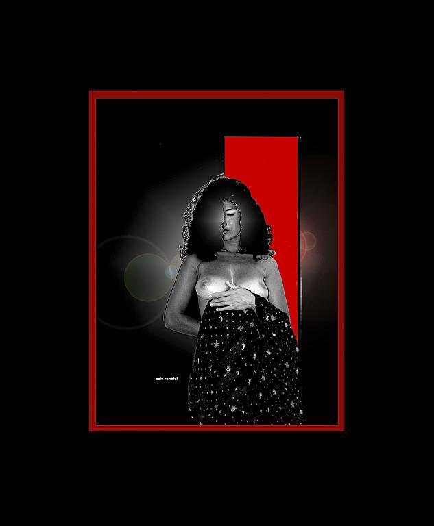 RITRATTO CON LUCE ROSSA foto artistica su pannello forex - EZIO  RANALDI - Digital Art - 300 €