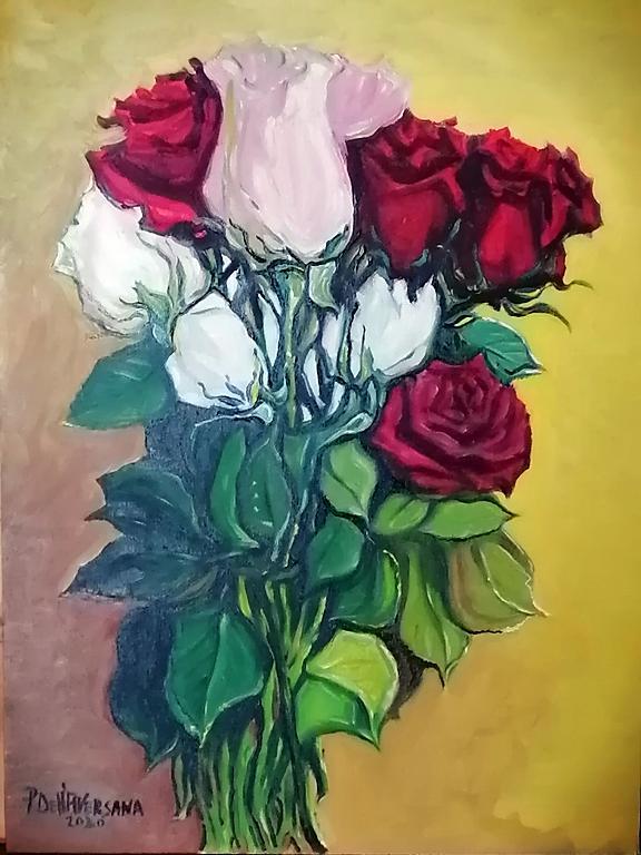 Rose miste - Pietro Dell Aversana - Olio - 100 €