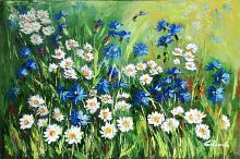 I will dress in daisies and cornflowers, in the sun and with a smile - Carla Colombo - Oil