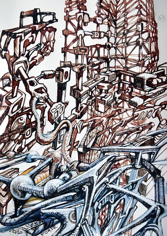 Blood 2 - Lucio Forte - Acrilico, china, blood, acquerello su carta - 115 €
