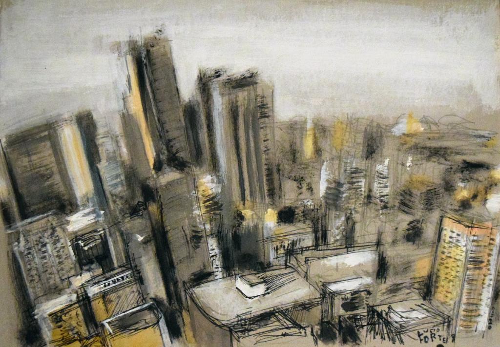 Skyscrapers in L.A. - Lucio Forte - Acrilico, china, acquerello su cartoncino - 185 €