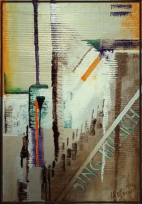 Fragili interazioni - GIOVANNI GRECO - stucco, smalto, olio su cartone imballo - 300 €