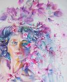 Vestita di fiori o sogno rosa - Ruzanna Scaglione Khalatyan - Acquerello