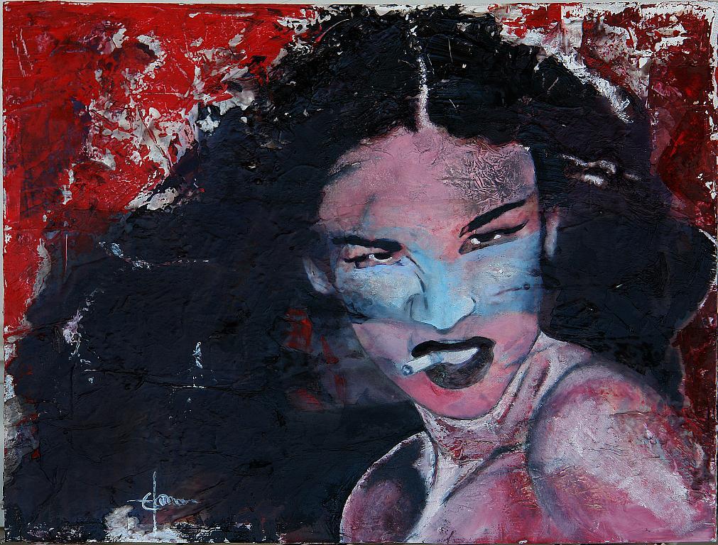 ritratto alla sigaretta - Ezio Ranaldi - smalto e gesso su multistrato legno - 800 €