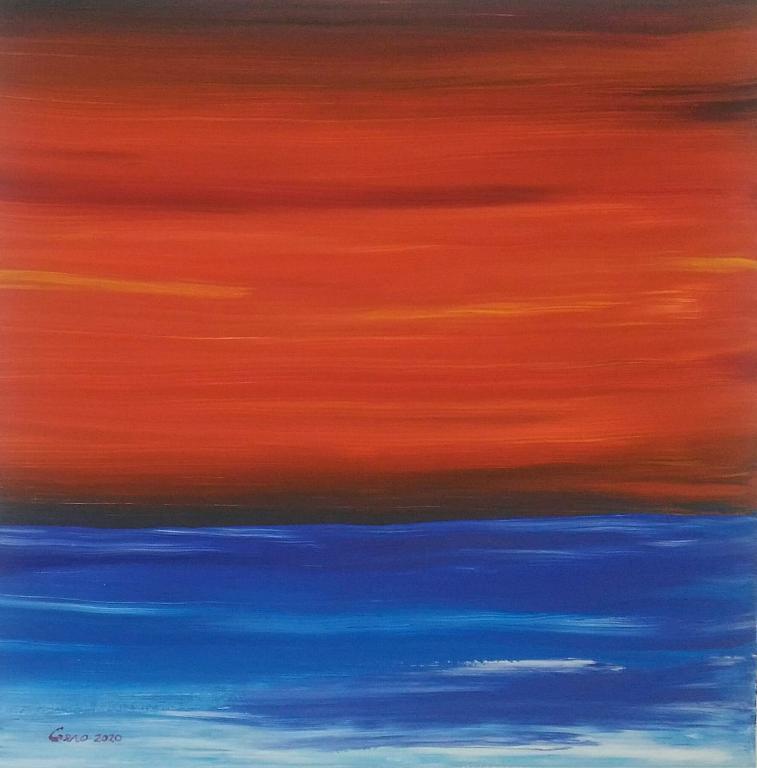 Tramonto minimalista - Girolamo Peralta - Acrilico e Tempera