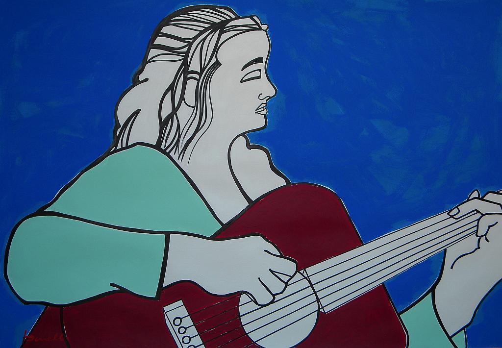 Ragazza con la chitarra - Gabriele Donelli - Acrilico - 1800 €