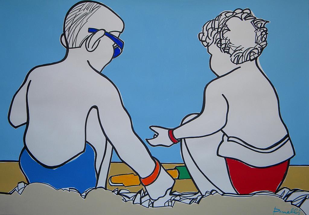 Enfants jouant sur la plage  - Gabriele Donelli - Acrilico - 700 €