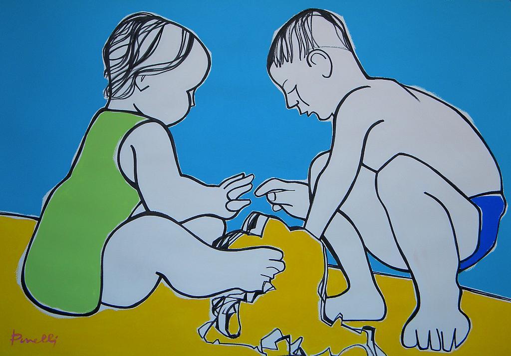 Enfants jouant sur la plage  - Gabriele Donelli - Acrilico - 1200 €