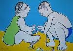 Enfants jouant sur la plage  - Gabriele Donelli - Acrilico - 1200€